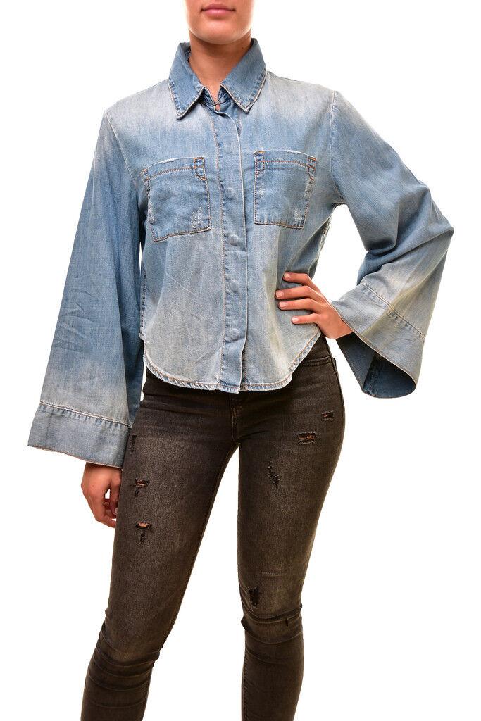 One Teaspoon Women's Authentic Keystone Denim Shirt bluee Size S