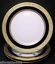 "3 Ahrenfeldt Limoges Cobalt and Gold Encrusted 8 3/4"" Wide Plates - MINT"