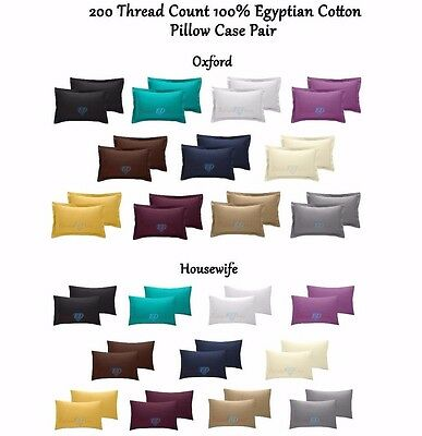 Housewife 200 Tc Thread Count 100% Egyptian Cotton Pillow Case Pair Oxford To Win Warm Praise From Customers