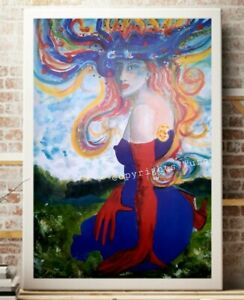 Sommerwind Frau Erotica Impression Turner Malerei  FINE Art PRINT LEINWAND 60X80