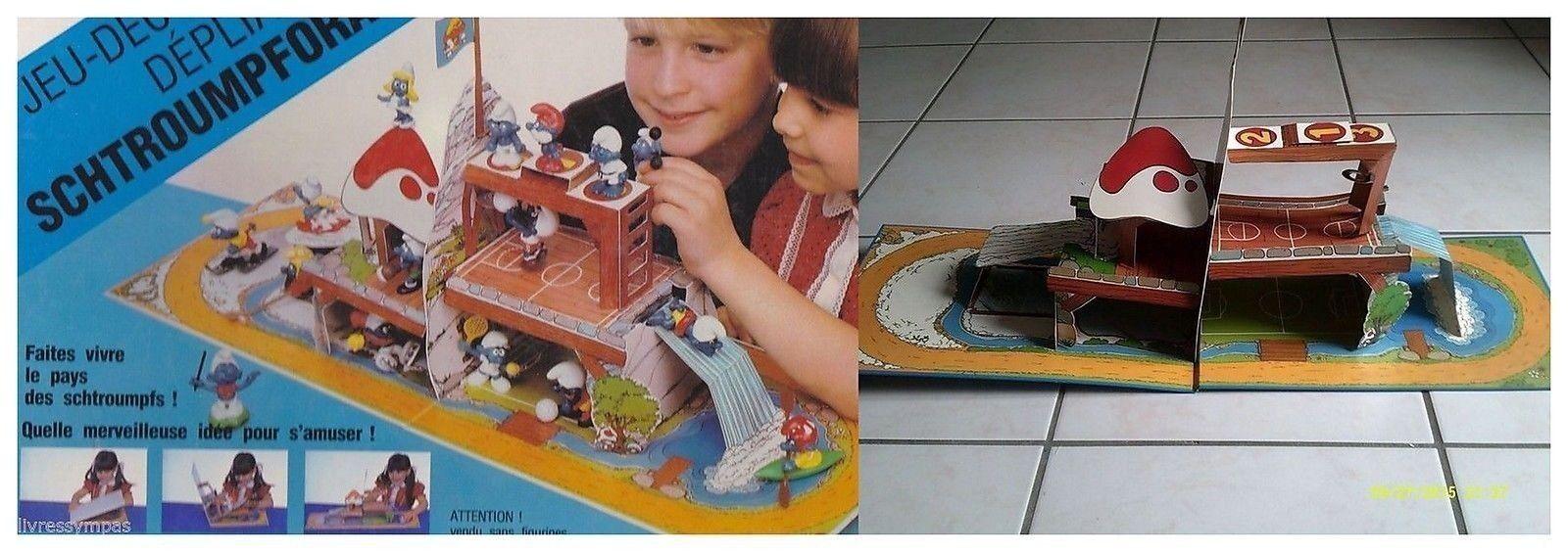 JEU DéCOR POP UP SCHTROUMPFORAMA - STADE - Peyo 1983-  Smurf - Schleich