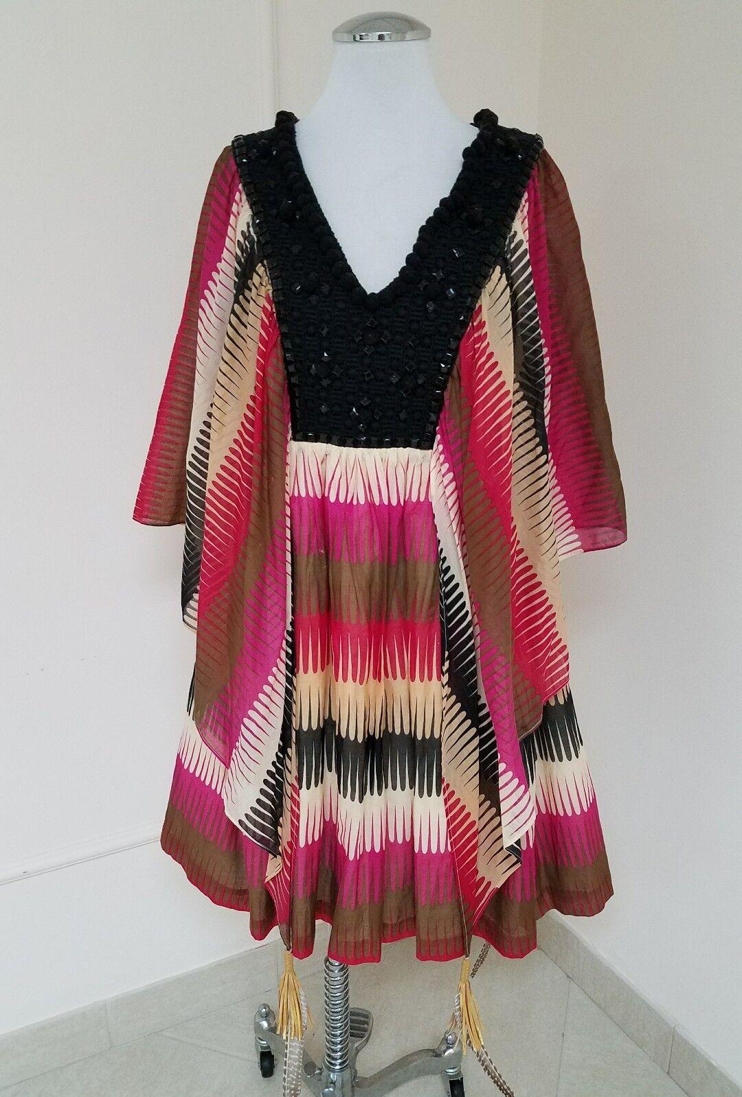 Manoush Manoush Manoush Embellished Dress with Tassels and Feathers Size 8 643ff2