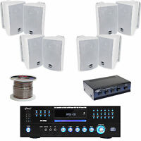 Pyle Dvd Usb Receiver, 4 100 Watt Outdoor Box Speakers With Selector, 100' Wire on sale