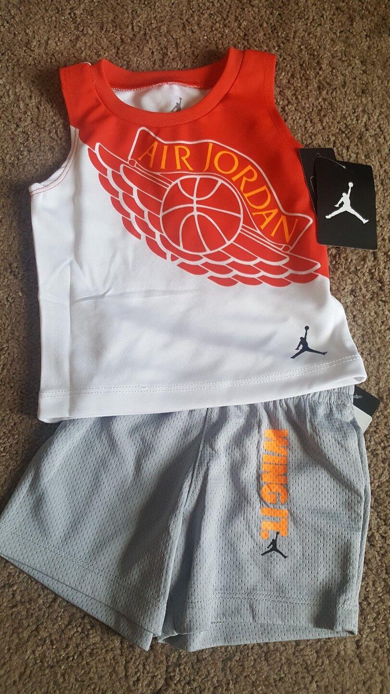 f4f099b06dbf Nike Air Jordan BLK Striped Jumpman 2piece Short Set 12months