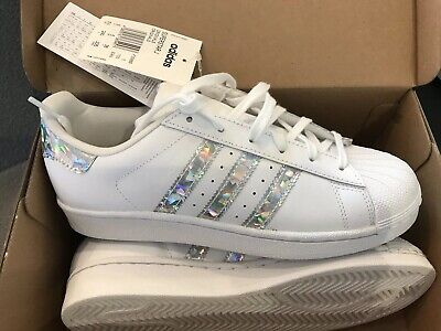 NEW ADIDAS SUPERSTAR GS WHITE TRAINERS SIZE 5 UK SILVER