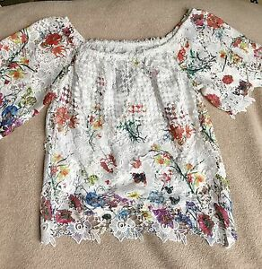 Gorgeous Lace Over The Shoulder Blouse Uk Size 8 Ussize 6 Ebay