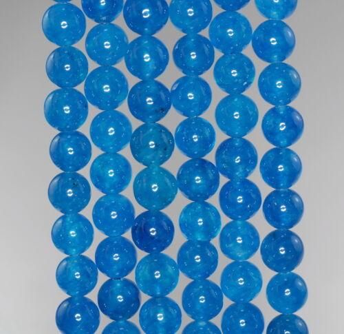 "8MM  JADE GEMSTONE GRADE A APATITE BLUE ROUND LOOSE BEADS 15/"""