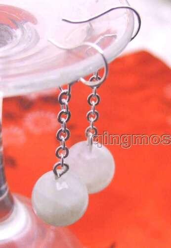 Genuine 10mm White Round Natural MoonStone Dangle Silver Earrings for Women-e324