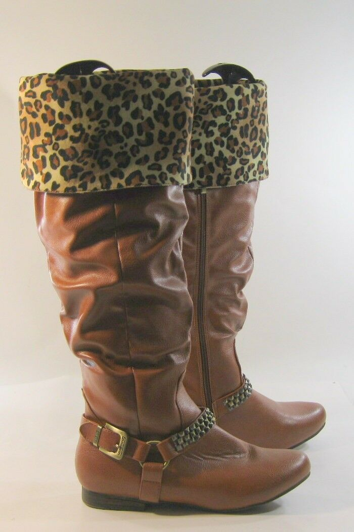 Tan Flat Round Toe Ankle Buckle With Studs Over The Knee Boots Size 9