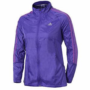Selección conjunta Superficie lunar Escalera  Adidas Response Mujeres Chaqueta Para Correr Viento-Púrpura | eBay