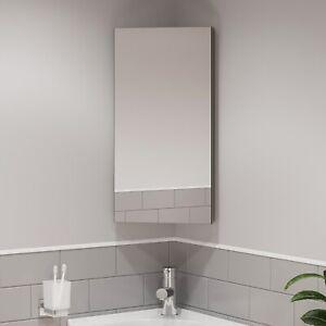 Single Door Corner Bathroom Mirror Cabinet Cupboard Stainless Steel Wall Mounted Ebay