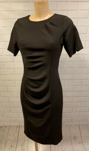 Charcoal Ruch Feature Wiggle Pencil Smart Office Shift Dress Size 8-18