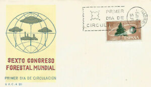 FDC-Sobre-Primer-dia-Espana-edifil-1736-Congreso-Forestal-Mundial-1966