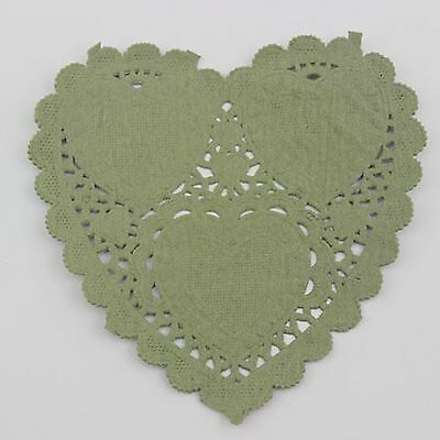 """20pcs 4"""" /10cm Heart Lace Doilies paper for Party craft Scrapbooking Dark green"""