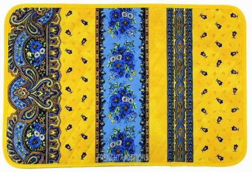Set of 6 Cotton Placemats Marat Avignon Flowers//Geometric Yellow Made France