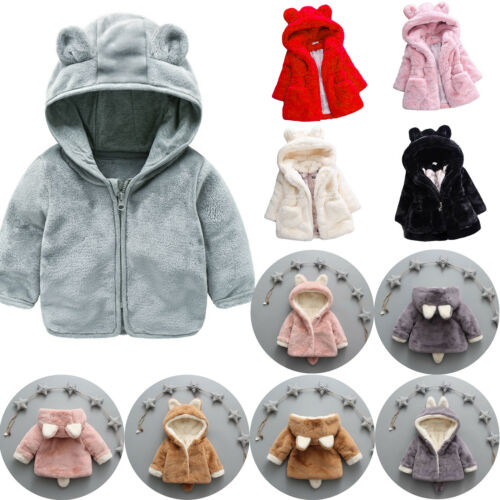 Toddler Baby Girl Kids Winter Fleece Coat Fluffy Jacket Bunny Ear Hoodie Outcoat