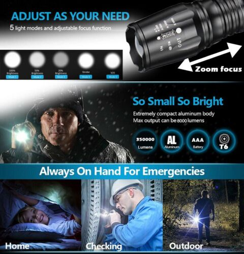 Tactical Military 350000Lumens CREE T6 LED 5Mode Flashlight Aluminum Zoom Torch,