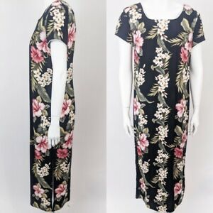 Vintage Hawaiian black and white floral dress