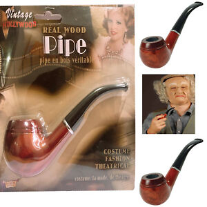 Costume Accessory Vintage Hollywood Real Wood Pipe