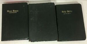 Lot-of-3-Vintage-Bibles-Concordance-Red-Letter-Edition