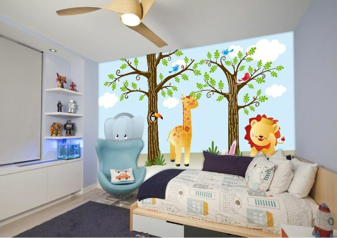 3D Lion Elephant Trees Paper Wall Print Decal Wall Wall Murals AJ WALLPAPER GB