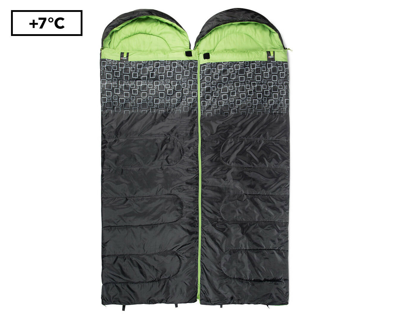 CARIBEE MOONSHINE TWIN SET SLEEPING BAG - CHARCOAL SPRING GREEN