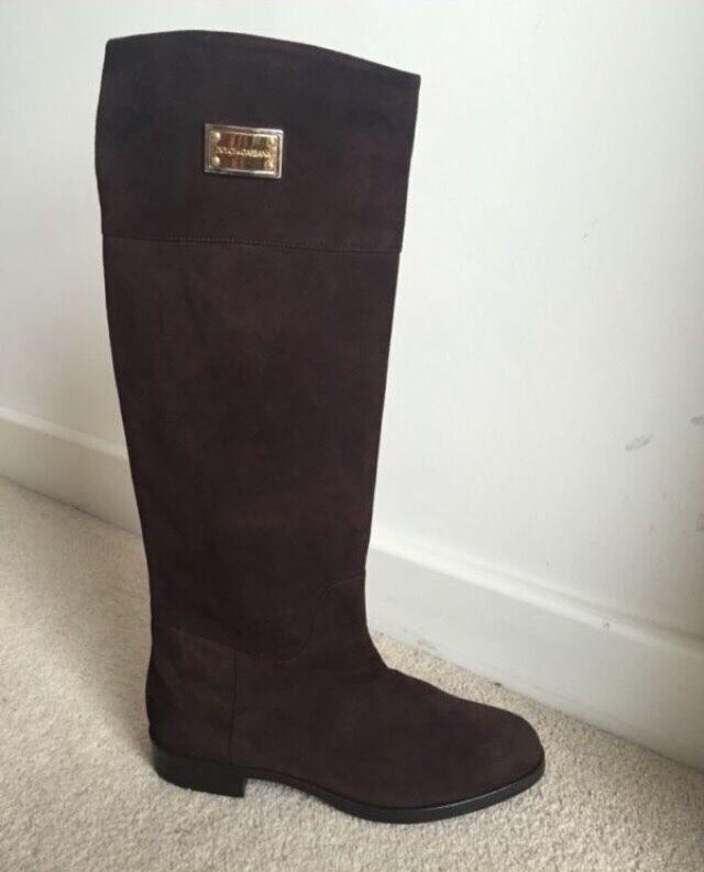 Dolce & Gabbana Para Mujer Botas De Cuero Gamuza marrón, UK Size 4! precio original !