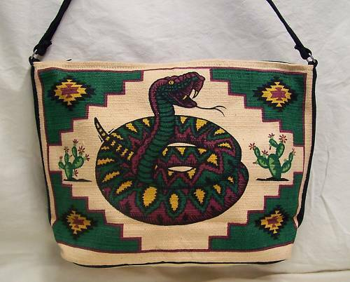 Purse Southwest Design Rattlesnake Cotton Stencil Zipper Closing Shoulder Strap