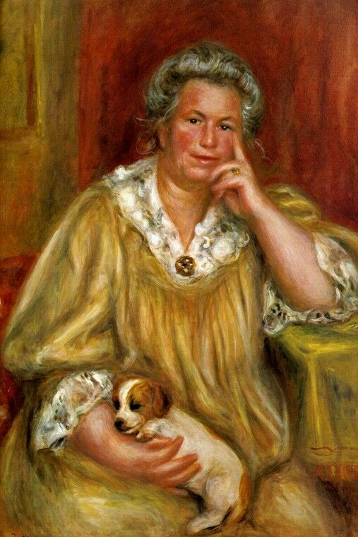 MADAME REnero WITH PUPPY DOG FRENCH 1910 BY PIERRE AUGUSTE REnero REPRO
