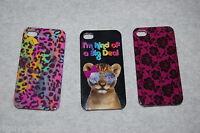 Iphone 4 /4s Hard Case 3 Lot Leopard Spot Magenta Lace Flowers Cat Sunglasses