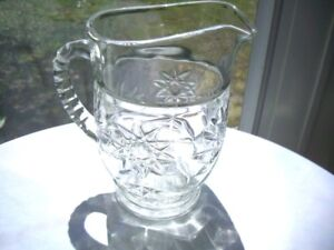 Anchor-Hocking-Early-American-Prescut-Clear-Glass-Milk-Pitcher-c-1960-039-s