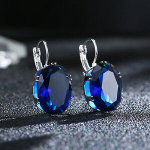 Big-Oval-Cut-Blue-Sapphire-Topaz-Ear-Stud-Clip-Crystal-Zircon-Hoop-Earrings