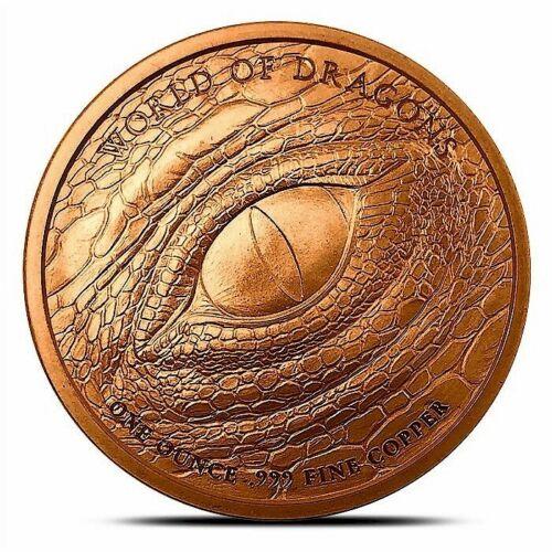 USA Flashy! 2019 World Of Dragons Series #3 Chinese Dragon BU 1 oz Copper Coin