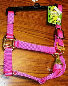 NEW-BMB-STABLE-HALTER-YEARLING-COB-SIZE-FITS-500-800-LBS-PINK-NYLON-HORSE-TACK