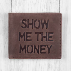Brown Leather Mens Wallet - Show Me The Money - by Mustard
