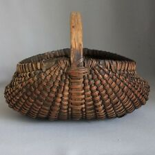 Antique Primitive 19th Century OAK SPLINT BUTTOCKS EGG GATHERING BASKET Butt