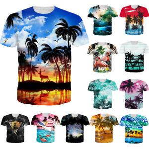 bd407b2e9b Mens/Womens 3D Hawaii Scenery Print T-Shirt Summer Casual Short ...