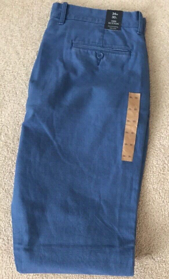 J Crew Factory Mens Sutton textured cotton pant  bluee 34x30 E7445