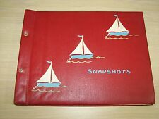 Vintage Red Photo Album Snapshots Sailboat Theme Sailboats White Pages Blank