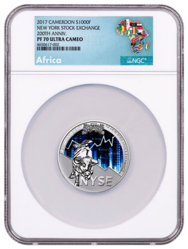 2017 Republic Cameroon 200th NY Stock Exchange 1 oz Silver NGC PF70 UC SKU52471