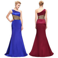New One Shoulder Formal Mermaid Bridesmaid Evening Gown Cocktail WEDDING Dresses