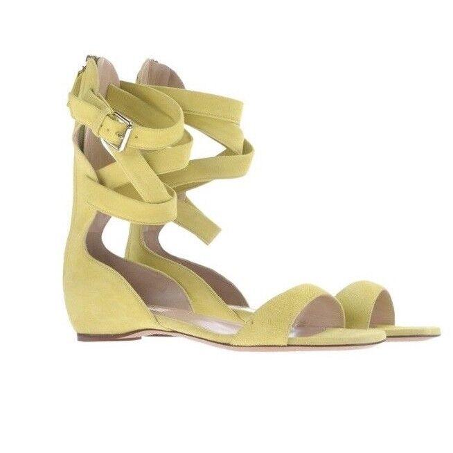 Auth Valentino Garavani Plum Ankle Wrap Flat Sandal SZ 36.5 Green Suede  795