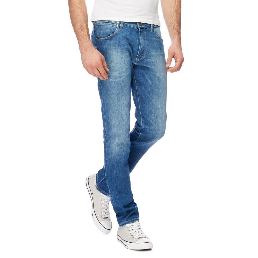 Wrangler larston lejos verde 029 Stretch Calce  Ajustado Para Hombres Jeans Denim Azul Rrp  mejor reputación