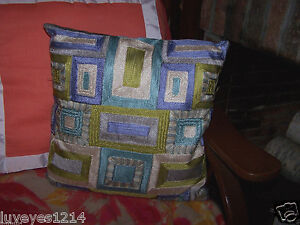Pleasant Details About Pier One Dream Blue Aqua Lime Green Square Design Geometric Couch Throw Pillow Onthecornerstone Fun Painted Chair Ideas Images Onthecornerstoneorg