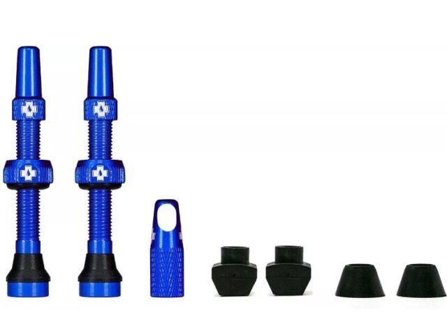 Muc Off 44mm Tubeless Valves, 44mm Blue Valves, Presta Tubeless Valve Kit