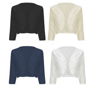 Femme-femmes-manches-3-4-dentelle-shrug-cardigan-bolero-top-grandes-tailles-16-22
