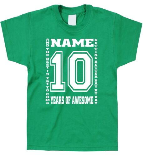 Kids Children/'s 10th Birthday T-Shirt Personalised Name Any Age Can Be Amended