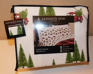 Cuddl Duds Cotton Flannel Christmas Farmhouse Truck Trees Sheet Set Queen King