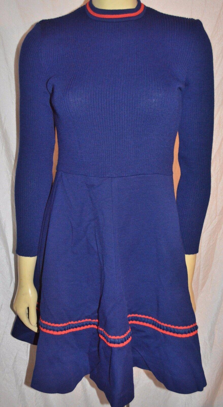 Vintage 1960s 60s bluee Fit Flare Dress Knit Mod Hipster CRAZY GREAT size S
