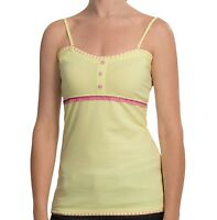 Cripple Creek -m/l - - Yellow & Pink Hand Embroidered Cotton Knit Tank Top